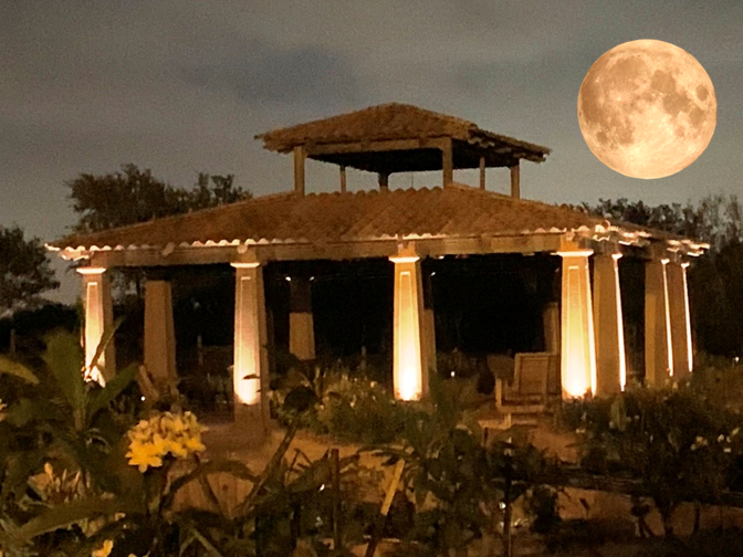 Rose Pavilion with Moon